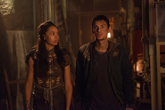 "The 100 -- ""Red Sky at Morning"" -- Image HU314b_0023 -- Pictured (L-R): Nesta Cooper as Shay and Devon Bostick as Jasper -- Credit: Diyah Pera/The CW -- © 2016 The CW Network, LLC. All Rights Reserved"